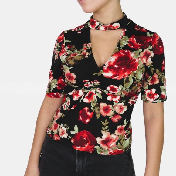 ASOS Black Floral Choker Cropped Top